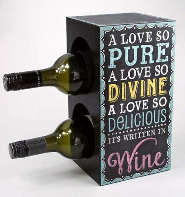 2 Bottle Timber Wine Rack -  Wine Storage Solution WITH NICE QUOTE.HOME DECOR.