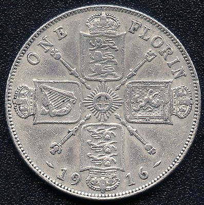 1916 Great Britain 1 Florin Coin (11.31 Grams .925 Silver)