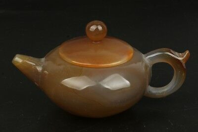 Chinese Exquisite Hand-carved agate teapot