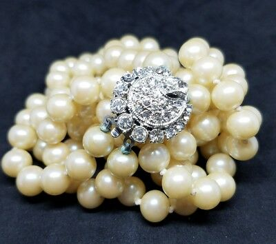 """Stunning Vintage Art Deco Rhinestone Clasp Double Layer Faux Pearl 23"""" Necklace"""