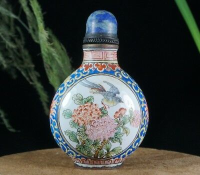 China Exquisite Handmade Flowers pattern Cloisonne snuff bottle