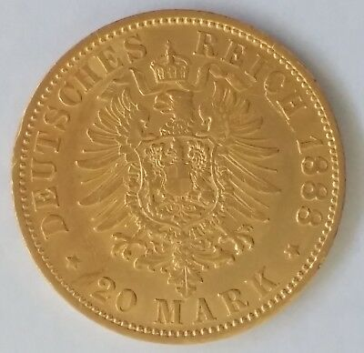 1888 Germany (Prussia) 20 Mark Gold (0.90) Coin Friedrich III A Mint Mark