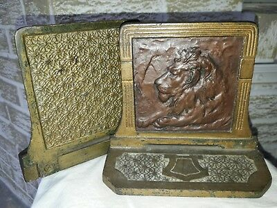 Pair Vintage Antique Art Deco Cast Iron Judd Leo Lion Art Sculpture Bookends