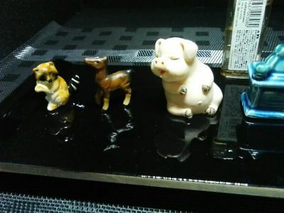 Miniature pottery 4 animals Hat coffee mill Japan rare cute EMS F/S!