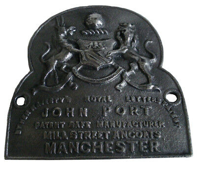 LARGE - Antique Style HEAVY CAST JOHN PORT MANCHESTER SAFE PLATE (5130)