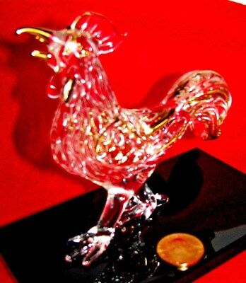 J.G.DURANT - VTG  ROOSTER  GLASS  ART/ 24k PAINT  WITH GOLD LUCKY COINS (FRANCE)