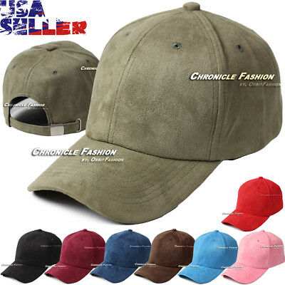 6867e5a368e Suede Hat Baseball Cap Soft Plain Classic Strapback Adjustable 6 Panel  Solid Hat