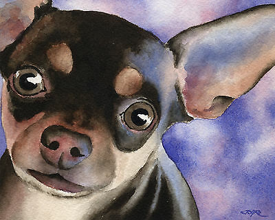 CHIHUAHUA Watercolor Painting Dog 8 x 10 ART Print Signed by Artist DJR