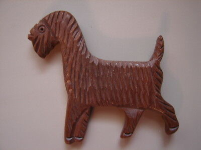 Vintage Un-Marked Carved Wood Airedale Terrier Type Dog Brooch Pin-Back