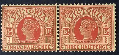 1906- Victoria Australia Pair of 1 1/2 d Dull Red Brown on Yellow Postage Stamps