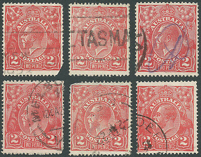 Australia KGV 2d Red Used with Varieties (includes Cracked Electro - torn)