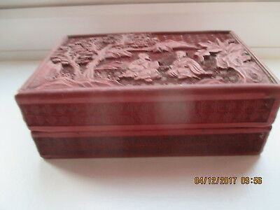 Antique Chinese Cinnabar and Lacquered Box   14 CM BY 9 CM BY 5 CM