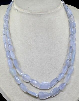 2 Line 330 Cts Natural Blue Chalcedony Faceted Nugget Beads Necklace