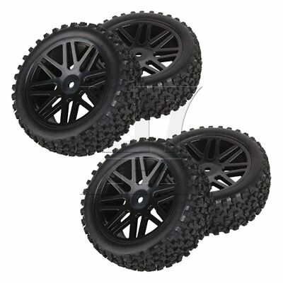 RC 1:10 Off-Road Front Rear Wheel Rim Rubber Tyre Tires Set of 4 Black