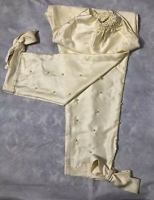Pakistani Indian satin Pants  With pearls and Bow Medium