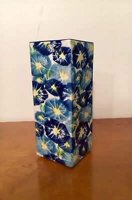 Blue And Yellow Floral Vase - Australian Pottery - Vintage Retro 70s 90s Style