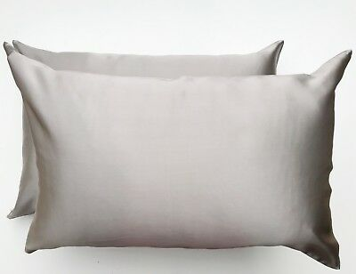 2x TAUPE GREY 100% Mulberry Silk Pillowcase Pair 22 Momme Premium Quality