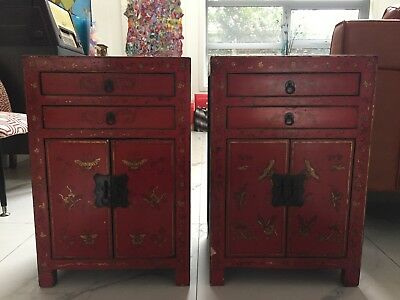 Side tables x 2 Red and Black antique-like