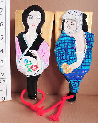 7 inch Japanese Clay Bell Dorei 2 pics : design man and woman of Edo period