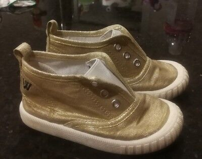 walnut toddler kids gold colour shoes size 27
