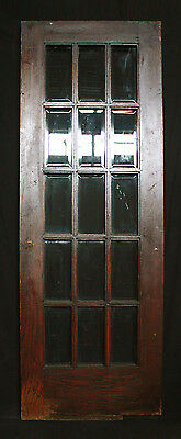"30""x83"" Antique Arts & Crafts French Oak Wood Wooden Swinging Door Beveled Glass"