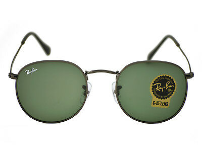 702657e6af Ray Ban RB3447 Round Metal 029 Gunmetal Frame  Green Classic G-15 Lens 50mm
