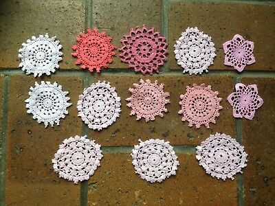 13 Pink Mini Doilies For Craft