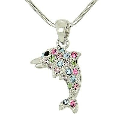 "W Swarovski Crystal DOLPHIN Multi Color Ocean Sea Necklace Pendant 18"" Chain"