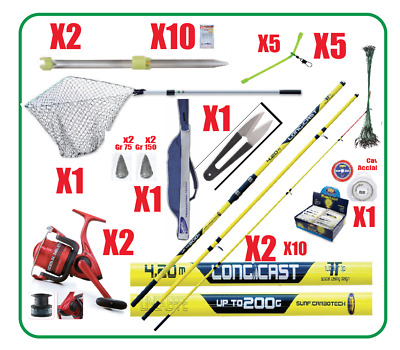 CANNE DA PESCA SURFCASTING - SURF CASTING - 2 MULINELLI + KIT COMPLETO  profes. dfde4b8f0791
