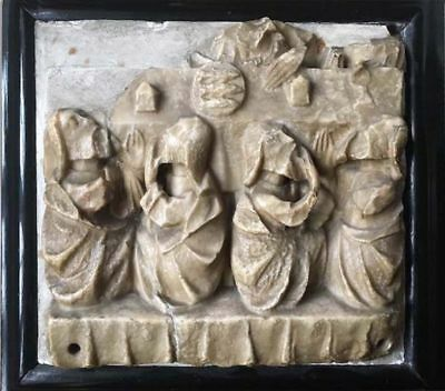 Rare 15th Century Nottingham Carved Alabaster Sculpture The Last Supper, c.1450