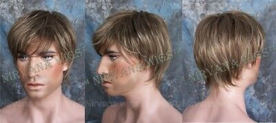 LARGE FIT.. Dark Blonde, Silver, Brown, Auburn Layered Mens Wispy Tips Jason Wig