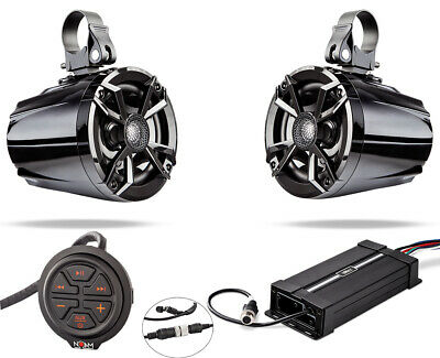 Waterproof Marine Atv Rzr Utv Speakers Audio Bluetooth Stereo System offroad mp3