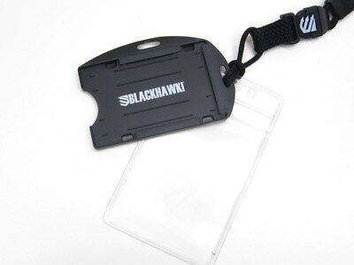 BLACKHAWK! Black CIA Credentials Info Accessories ID CARD Holder + Neck Lanyard!
