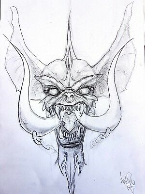 "ORIGINAL DRAWING by De Prado. ""Gremlins motörhead crossover"" (21x29,5cm)"