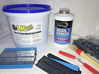 Tyre Fitting Kit,Cream,Bead Sealer,Sitck On Weights,TR414 & Keys Free Black SOW