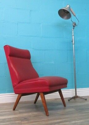 Retro Very Stylish Mid Century Solid Beech And Maroon Cocktail Chair