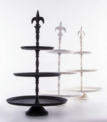 3 Tier Round Fleur De Lys Cake Stand in Satin Black - Beautiful Home Decor