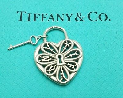 Tiffany co sterling silver filigree heart necklace with key rare tiffany co sterling silver filigree heart with key padlock charm pendant aloadofball Images