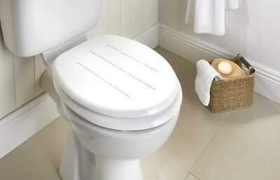 wooden white toilet seat. Wooden White Stylish Premium MDF Toilet Seat Diamonds New With Chrome Hinges WOODEN WHITE