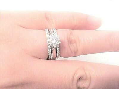 3pcs Bridal Set Sparkly Simulated Diamond Real 925 Silver Engagement Weddin Ring