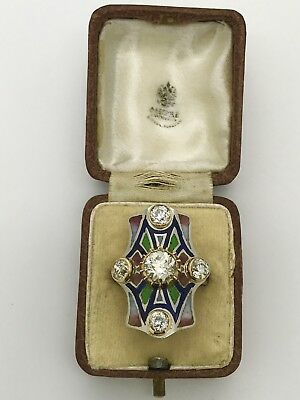 Antique Russian Faberge Platinum Gold 2.6ct Diamonds Plique-A-Jour Enamel Ring