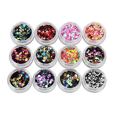 Ultrathin Nail Art Sequins UV Gel Colorful Shiny Round Stickers Decoration 12pcs