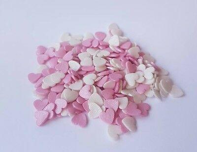 WHITE & PINK Confetti Glimmer HEARTS 100g Edible Cake Sprinkles WEDDING C7