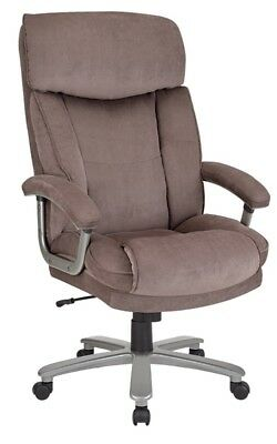 Realspace® BTEC 820 Big & Tall Executive Fabric High-Back Office Chair, Brown/S