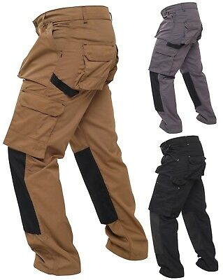 Mens Work Wear Combat Cargo Trousers Worker Knee pads Pockets Working Pants