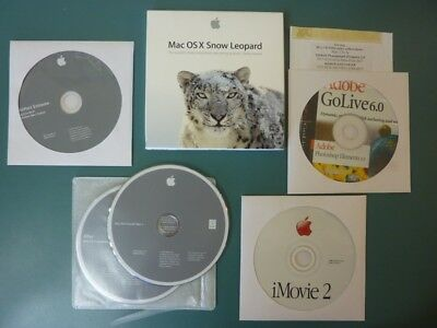Various Apple & Adobe discs (GoLive, PS Elements, iMovie, OS X, Airport Extreme)