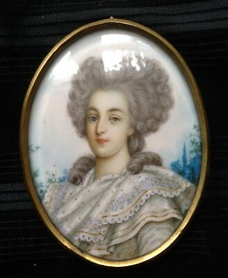 FINEST QUALITY BRITISH PORTRAIT MINIATURE PAINTING OF GEORGIAN SOCIETY LADY 19th