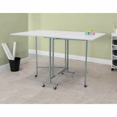 Folding Sewing Machine Table Desk Craft Home Portable Drop Leaf Rolling Cutting