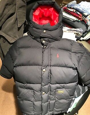 EUC Preowned Boys Ralph Lauren Polo Winter Coat Navy/Red Size 5