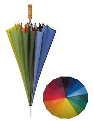 Multicoloured Rainbow Golf Umbrella with 16 Panels & Wooden Handle - Big 125 cm
